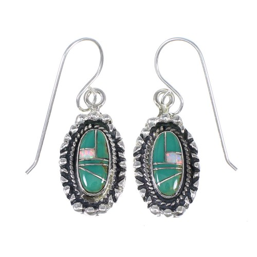 Southwestern Sterling Silver Turquoise And Opal Hook Dangle Earrings QX81998