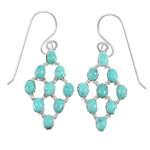 Turquoise Southwestern Authentic Sterling Silver Hook Dangle Earrings QX69369