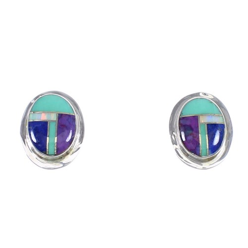 Sterling Silver Multicolor Southwest Post Earrings YX69438