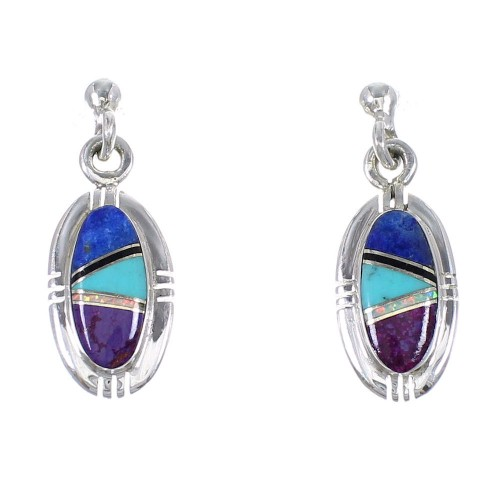 Authentic Sterling Silver Multicolor Southwest Post Dangle Earrings YX69455