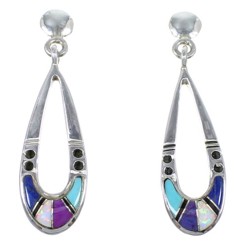 Multicolor And Genuine Sterling Silver Southwestern Post Dangle Earrings YX69469
