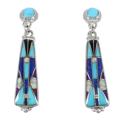 Multicolor And Authentic Sterling Silver Southwestern Post Dangle Earrings YX69474