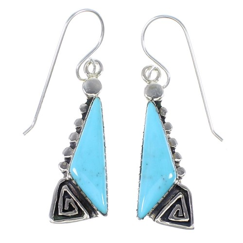 Southwest Turquoise Authentic Sterling Silver Water Wave Hook Dangle Earrings RX69217
