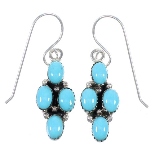Turquoise Southwest Authentic Sterling Silver Hook Dangle Earrings QX69478