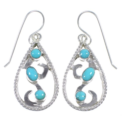 Authentic Sterling Silver Turquoise Southwestern Hook Dangle Earrings QX69499