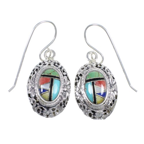 Multicolor Inlay Sterling Silver Hook Dangle Earrings RX70409