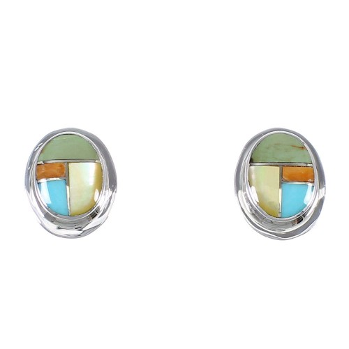 Authentic Sterling Silver Southwestern Multicolor Inlay Post Earrings RX71843