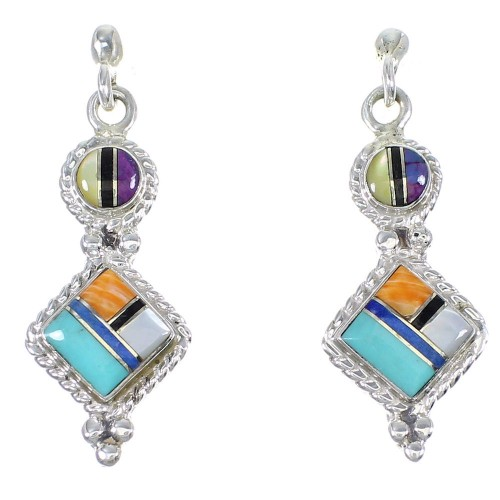 Southwest Authentic Sterling Silver Multicolor Inlay Post Dangle Earrings QX71983