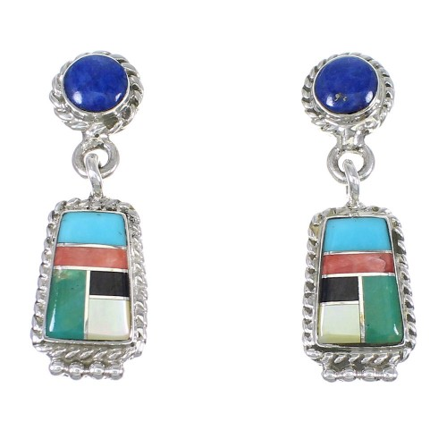 Southwestern Authentic Sterling Silver Multicolor Inlay Post Dangle Earrings QX71986