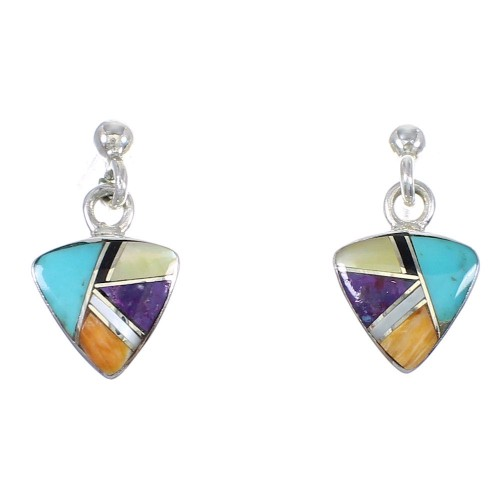 Sterling Silver Multicolor Inlay Southwest Post Dangle Earrings QX72163