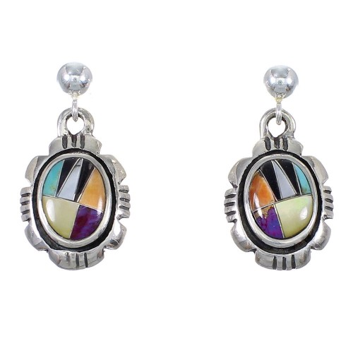 Sterling Silver Multicolor Inlay Southwestern Post Dangle Earrings QX72166
