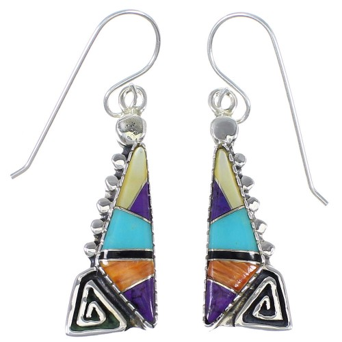 Sterling Silver Water Wave Southwest Multicolor Inlay Hook Dangle Earrings QX72176