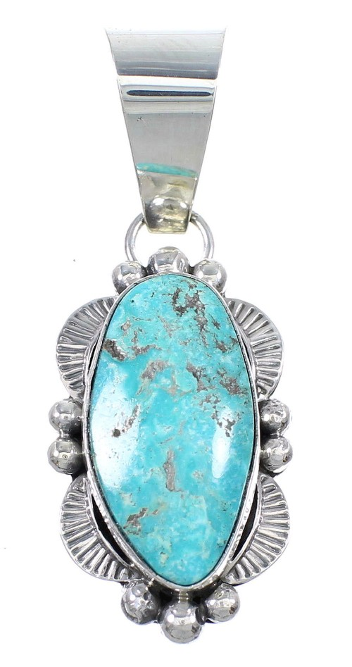 Navajo Indian Kingman Turquoise And Genuine Sterling Silver Pendant WX71988