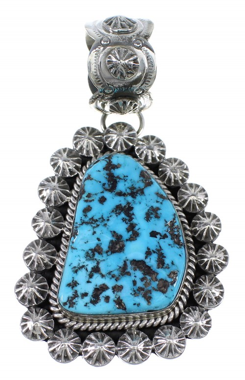 Navajo Sleeping Beauty Turquoise Sterling Silver Pendant AX71790