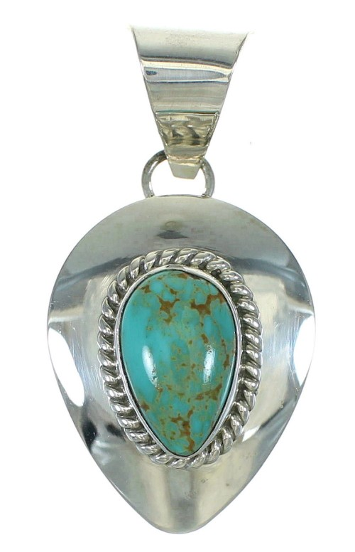 Sterling Silver Turquoise Tear Drop Pendant AX72407