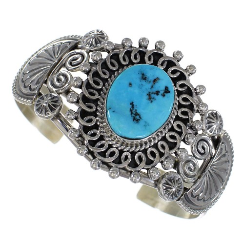American Indian Sleeping Beauty Turquoise Authentic Sterling Silver Cuff Bracelet RX72177