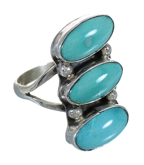 Silver Turquoise Navajo American Indian Ring Size 8 YX72680