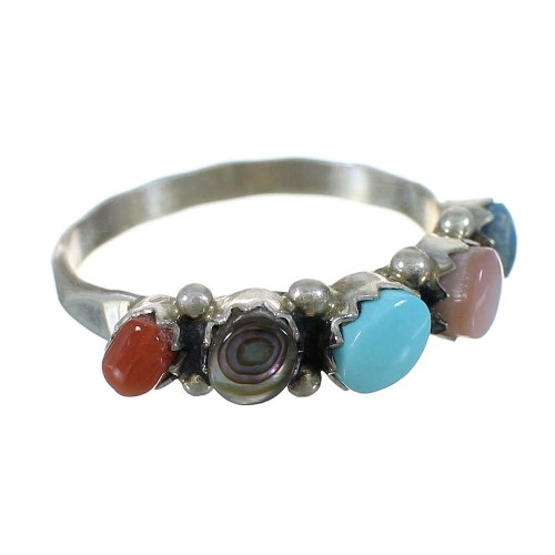 Authentic Sterling Silver Zuni Indian Multicolor Ring Size 6-3/4 WX73364