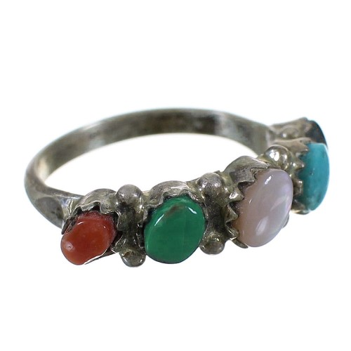 Sterling Silver Zuni Native American Multicolor Ring Size 4-3/4 WX73399