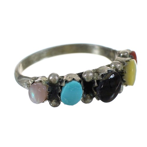Sterling Silver Zuni American Indian Multicolor Jewelry Ring Size 5-1/2 WX73419