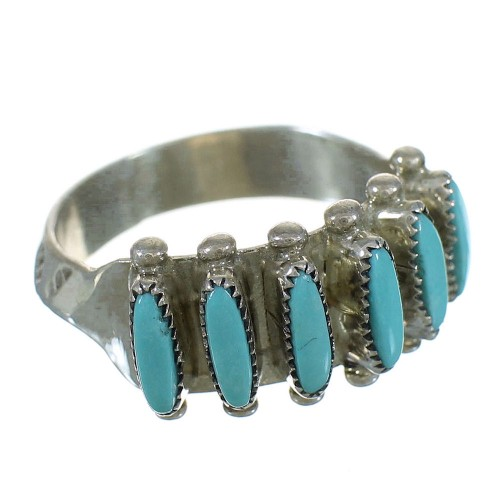 Silver And Turquoise Zuni Native American Needlepoint Ring Size 6-3/4 YX72952