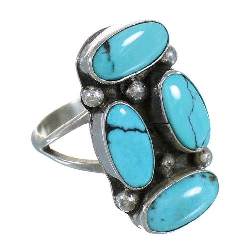 Navajo American Indian Turquoise Silver Ring Size 7-1/4 YX72984
