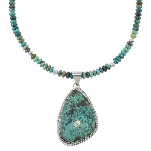 Turquoise Southwest Sterling Silver Bead Necklace Set AX77140