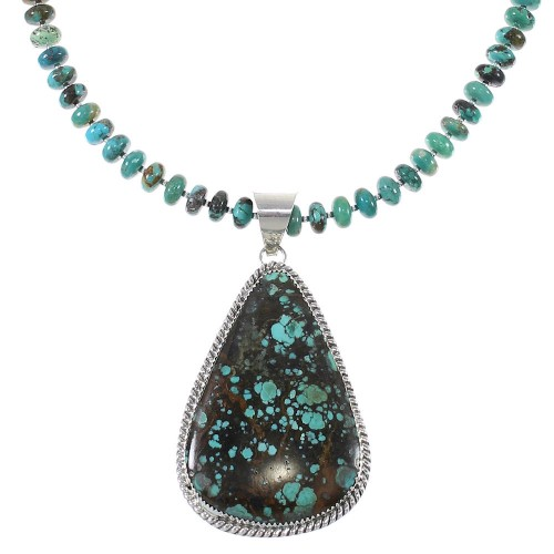 Southwestern Genuine Sterling Silver Turquoise Bead Necklace Set AX77227