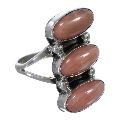 Silver And Pink Coral Navajo Indian Ring Size 6-3/4 YX74714