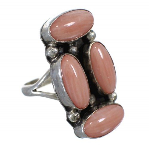 Silver Pink Coral Navajo American Indian Ring Size 6-1/2 YX74742
