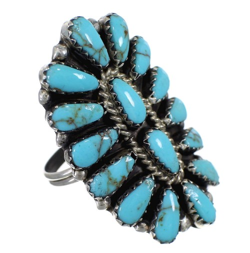 Turquoise And Silver Navajo American Indian Ring Size 9-3/4 YX90892