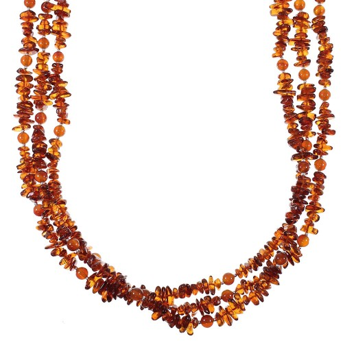 Amber And Carnelian Navajo Indian Sterling Silver Bead Necklace AX77756