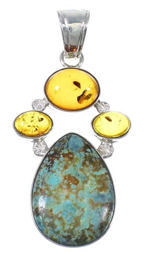 Silver # 8 Turquoise Amber Pendant YX77147