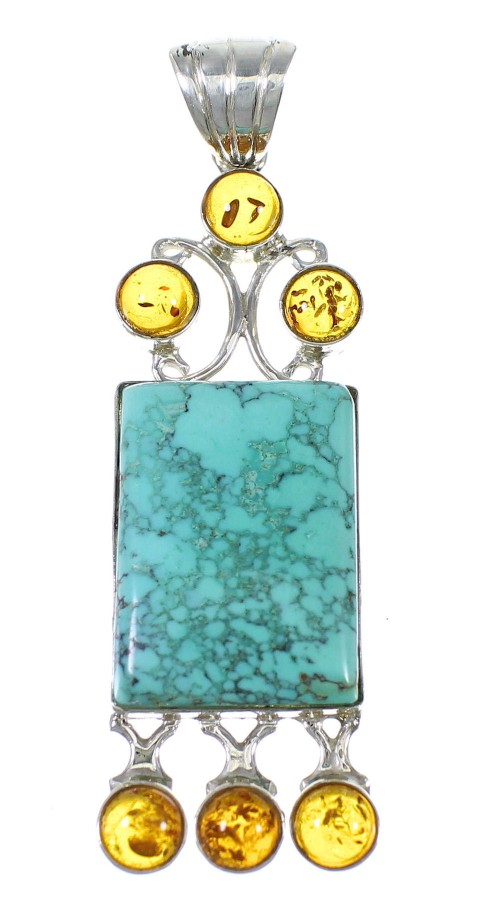 Turquoise Amber Silver Pendant YX77192