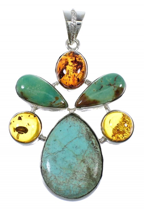Southwest Silver Turquoise And Amber Jewelry Pendant QX74171