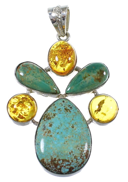 Southwest Sterling Silver Turquoise And Amber Jewelry Pendant QX74174