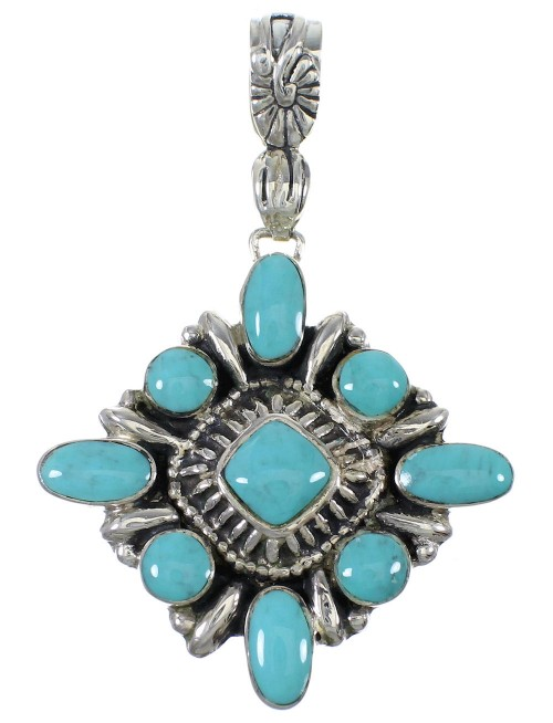 Southwestern Turquoise Silver Jewelry Pendant AX78456