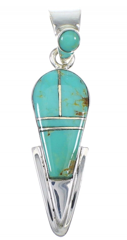 Southwestern Turquoise Inlay Silver Pendant AX78726