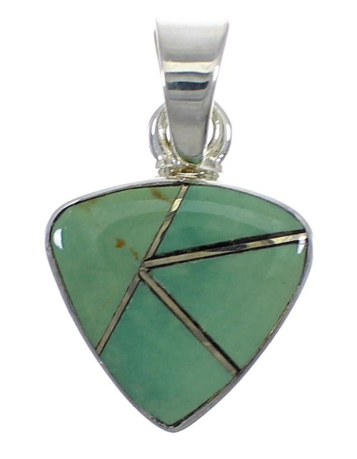 Genuine Sterling Silver Southwestern Turquoise Inlay Pendant AX78748
