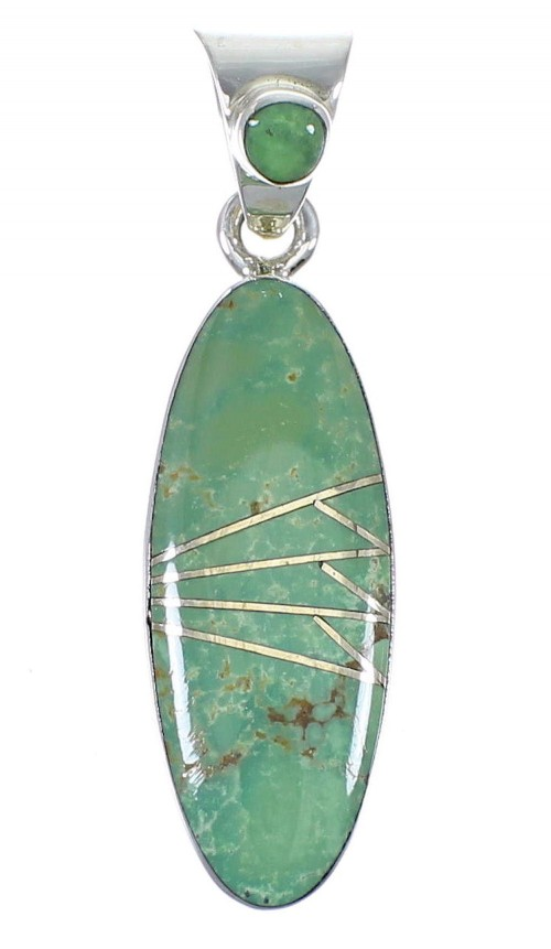 Silver Southwestern Turquoise Slide Pendant AX79036