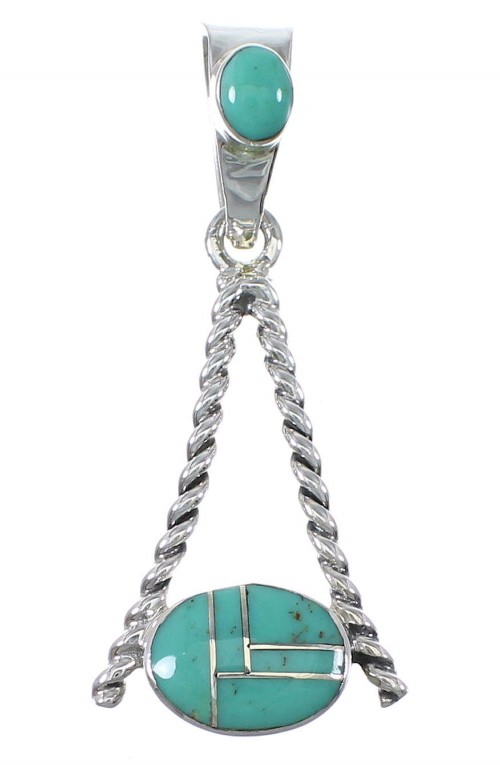 Southwest Turquoise Sterling Silver Pendant AX79189