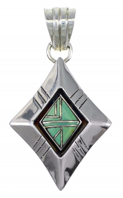Southwestern Turquoise Genuine Sterling Silver Pendant AX79191