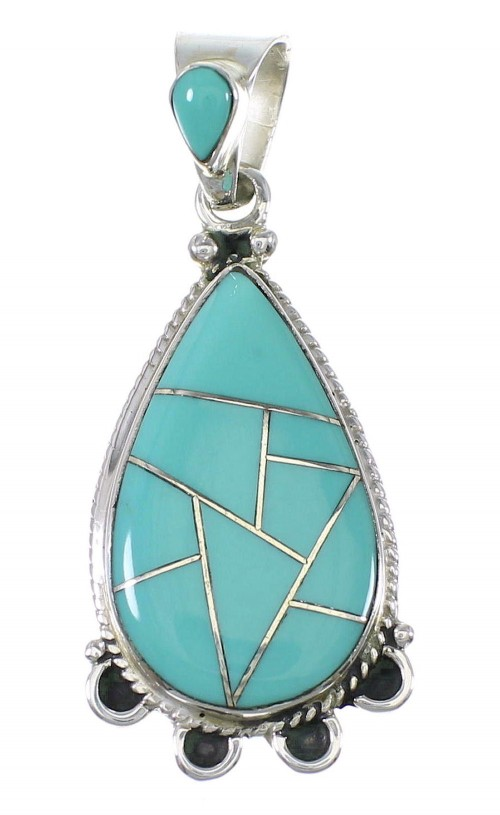 Southwest Turquoise Inlay Genuine Sterling Silver Pendant AX79194