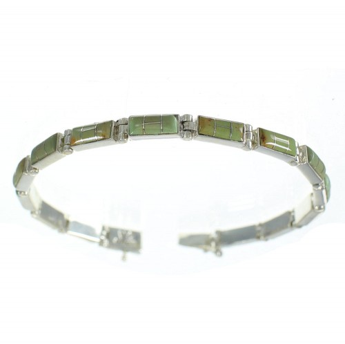 Silver Southwest Turquoise Inlay Link Bracelet AX77845