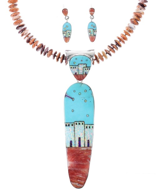 Multicolor Native American Village Pendant And Bead Necklace Set WX77553