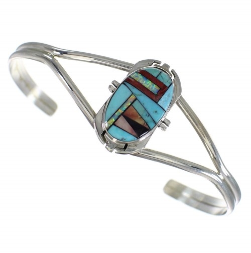 Multicolor Inlay And Sterling Silver Southwest Cuff Bracelet WX75398