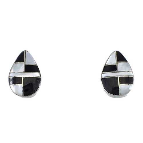 Tear Drop Jet And Mother Of Pearl Southwest Silver Post Earrings QX75463