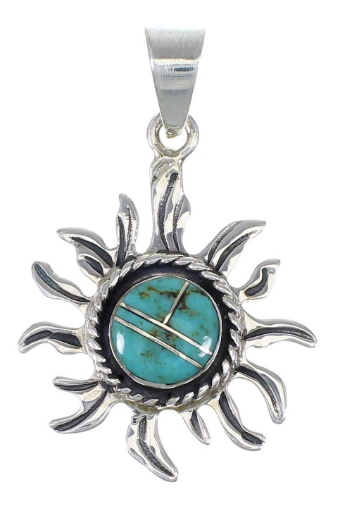 Sterling Silver Turquoise Sun Pendant YX75400