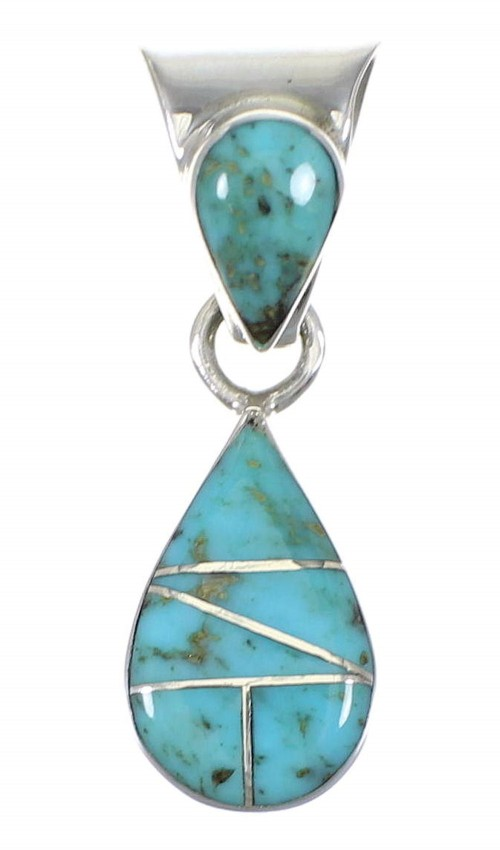 Silver Turquoise Tear Drop Southwestern Pendant YX75408