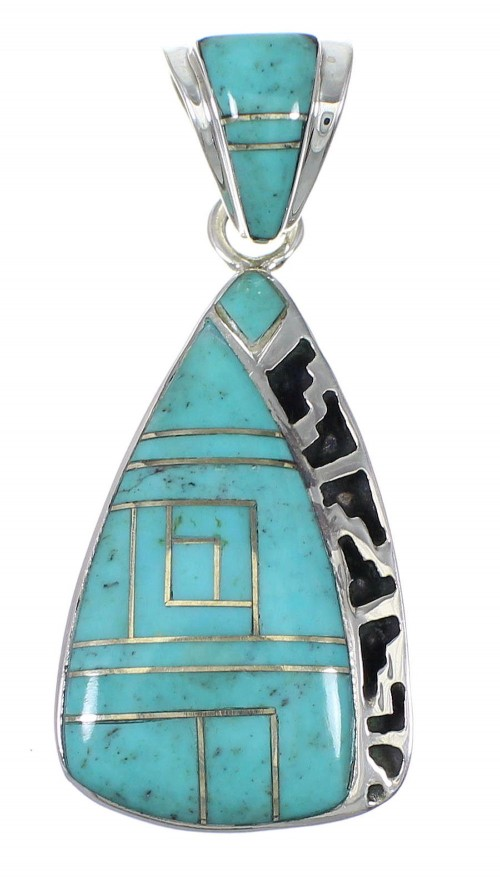 Sterling Silver Turquoise Inlay Pendant YX75456